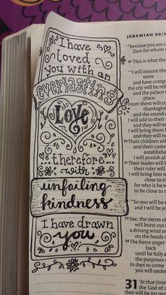 Jeremiah 31:3 by Heather Brownlie McCuaig.  Wonderful hand lettering scripture