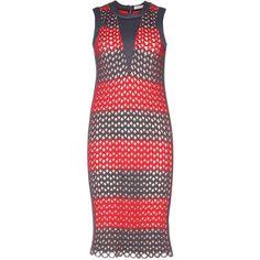 Balenciaga Woven Neoprene Dress (10.995 BRL) ❤ liked on Polyvore featuring dresses, grey, grey dress, balenciaga dress, braid dress, neoprene dresses and woven dress