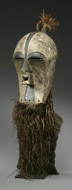 Africa | Kifwébé mask from the Songye people of DR Congo | Wood, raffia, feathers and pigment