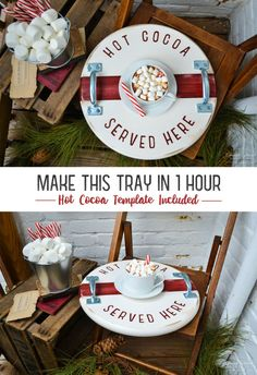 Looking for a creative gift this holiday season? Make this tray in 1 hour with a FREE downloadable hot cocoa template.  We provide easy step-by-step instructions, along with a supply list and where to find each item. Tray Tutorial by Church Street Designs