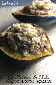 Sweet acorn squash is packed full of rice, sausage, mushrooms, and herbs. This sweet and savory dish is warm, filling, and perfect for a c...