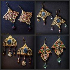 pendientes bizantinos pendientes polimero,cristal pulido naca  lava,guijarro y gota swarovsky piedras engarzadas,patina antigua Nuevas