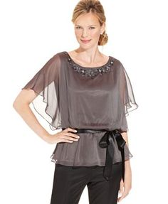da81e3d6256d7 JR Nites Flutter-Sleeve Belted Blouse   Reviews - Tops - Women - Macy s. Blouse  OnlinePeople ShoppingBlouses ...