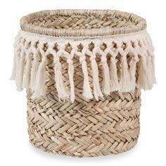 Cesta de fibra vegetal y algodón blanco DENTELLE