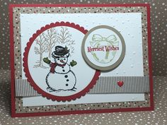 Fun card I made with Stampin' Up! Products. Come see what else I have. #stampinup #handmadecard #christmascard #snowman