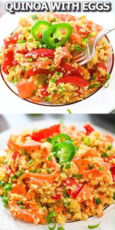 This Quinoa with Eggs and Vegetables is so healthy and tasty. You'll love this delicious and versatile dish for breakfast, lunch, or dinner. Quick Healthy Lunch, Dinner Recipes Easy Quick, Healthy Dinner Recipes, Vegetarian Recipes, Easy Meals, Healthy Eating, Cooking Recipes, Tasty Videos, Food Videos