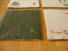 RESERVED for chauhie Custom Hand Embroidered 6-Coaster Set