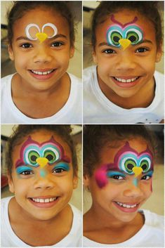 Simple face painting designs are not hard. Many people think that in order to have a great face painting creation, they have to use complex designs, rather then Girl Face Painting, Face Painting Tips, Face Painting Tutorials, Belly Painting, Face Painting Designs, Painting For Kids, Owl Face Paint, Face Paint Makeup, Animal Face Paintings