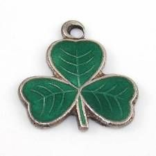 Vintage Sterling Silver Irish Green Enamel Three Leaf Clover Charm
