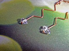 Bridal Earrings, Herkimer Diamond Earrings, Herkimer Diamond Jewelry, Herkimer Wire Earrings, Copper Jewelry, Copper Wire Earrings.
