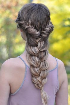 French Fishtail Braid into a gorgeous three strand braid. Love how @braidsbyjordan created this thick voluminous braid with her Dirty Blond Luxy Hair Extensions!   Photo by: https://instagram.com/p/8CR632v3-R/?taken-by=braidsbyjordan  #LuxyHairExtensions