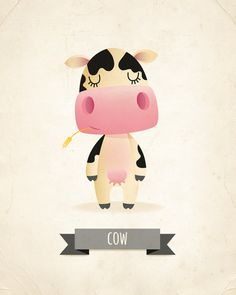 Cow art print nursery illustration farm by IreneGoughPrints Cow Nursery, Nursery Prints, Nursery Wall Art, Cow Illustration, Illustrations, Art Wall Kids, Art For Kids, Image Deco, Cute Cows