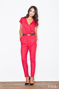 Red jumpsuit women with envelope neckline