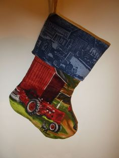 Farmall Tractor Handmade Lined Christmas Stocking Red Tractor Black Dog  #ChristmasStocking