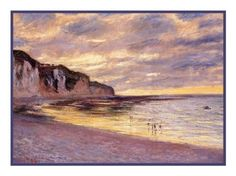 L'Ally Point at Low Tide inspired by Claude Monet's impressionist painting Counted Cross Stitch or Counted Needlepoint Pattern