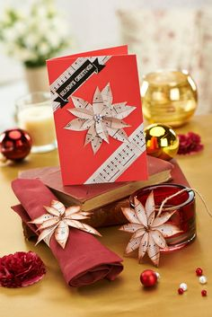 Blend traditional red with stylish music sheet paper for ultimate style this Yuletide. Music Sheet Paper, Christmas Cards, Xmas, Free Paper, Cardmaking, Paper Crafts, Gift Wrapping, Make It Yourself, Projects