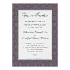 Elegant Damask Formal Wedding Invitation :: plum #purplewedding #weddings #weddinginvitations