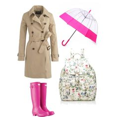 """Pour Pink - The Rainy Day Essentials"" by imahotmom on Polyvore"
