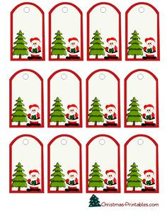 christmas gift tags with santa and tree