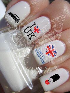 I Love UK Union Jack Heart Nail Art Nail Water DecalsTransfers Wraps