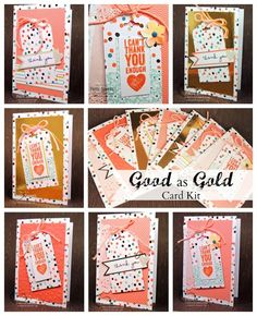 Dress up the Good as Gold Sale a Bration Card kit with the Scalloped Tag Topper Punch! by Patty Bennett www.PattyStamps.com