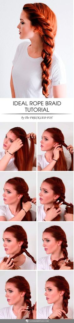 Impressive Rope Braid Hairstyle Rope braid is really multi-faceted and it looks special! See variations of impressive rope braid hairstyle.Rope braid is really multi-faceted and it looks special! See variations of impressive rope braid hairstyle. Everyday Hairstyles, Diy Hairstyles, Hairstyle Tutorials, Easy Hairstyle, Hairstyle Ideas, Summer Hairstyles, Wedding Hairstyles, Easy Updo, Latest Hairstyles