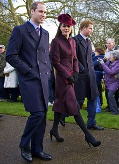 Prince William, Catherine, Duchess Of Cambridge and Prince Harry, attend St Mary Magdalene Church, On The Royal Estate In Sandringham, Norfolk For The Christmas Day Church Service.