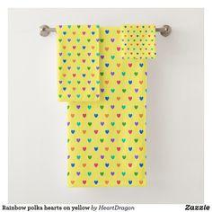 Shop Rainbow polka hearts on yellow bath towel set created by HeartDragon. Yellow Baths, Bath Towel Sets, Washing Clothes, Hand Towels, Print Design, Lemon, Hearts, Rainbow, Life