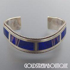 Native American John Charley Navajo Sterling Silver Lapis Lazuli Inlay – Gold Stream Boutique