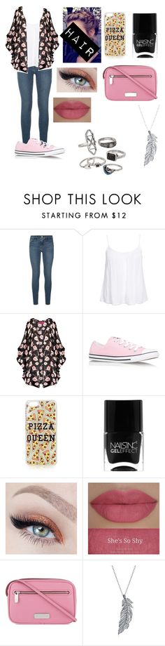 """""""back to school #7"""" by amarianamichelle ❤ liked on Polyvore featuring Frame Denim, New Look, Boohoo, Converse, Topshop, Nails Inc., She's So, Marc by Marc Jacobs, Stone Paris and Mudd"""