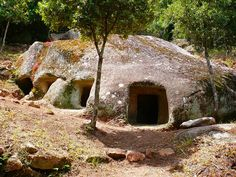 "#DomusDeJanas - #Sardegna : (""House of the Fairies"" or of the ""Witches"") are a type of pre-historic chamber tombs found in Sardinia. They consist of several chambers quarried out by the Ozieri and Beaker cultures, resembling houses in their layout. Built between 3400 and 2700 BC, more than 1000 of the rock-cut tombs are known on the island. The shape of grottoes can vary from that of a rounded hut with conical or triangular ceiling. The walls are often decorated with magical reliefs."