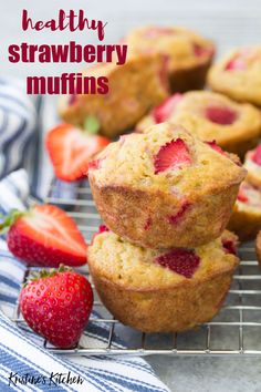 these healthy strawberry muffins to stock your freezer for quick breakfasts and snacks! This easy recipe can make strawberry banana muffins, strawberry applesauce muffins or strawberry yogurt muffins. Dairy-free and vegan options. Strawberry Muffins Healthy, Strawberry Bread, Healthy Breakfast Muffins, Healthy Strawberry Recipes Clean Eating, Healthy Snacks, Breakfast Recipes, Healthy Breakfasts, Eat Breakfast, Raspberry Muffins