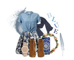 """""""Blue Buttons"""" by keylingering on Polyvore featuring Velvet, Chicwish, Yves Saint Laurent and Miss Selfridge"""