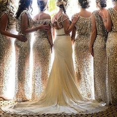These #sparkly #bridesmaid dresses add just the right amount of #glamour…
