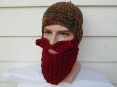 MEN Beard hat men's Hats Beard Beanie Wild Man Bearded Hat Knitted Beard Hat Christmas gift Adult ski mask barbarian hat with beard crochet