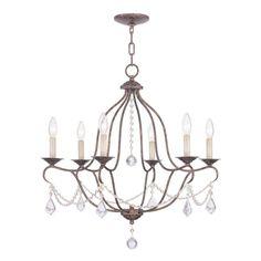 Livex Lighting Chesterfield 25-in 6-Light Venetian Golden Bronze Vintage Candle Chandelier
