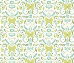Butterfly Damask - Aqua fabric by pattysloniger on Spoonflower - custom fabric
