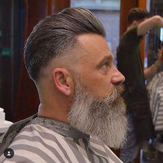 Medium Hair Cuts, Medium Hair Styles, Types Of Beards, Beard Haircut, Pompadour Hairstyle, Grey Beards, Beard Model, Slicked Back Hair, Men With Grey Hair