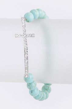 Turquoise Stone Cross Bead Bracelet