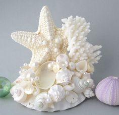 Beach Wedding Starfish Shell Cake Topper  by beachgrasscottage