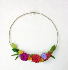 Felt Flower Floral Wreath Home Decor Wall by SugarSnapBoutique