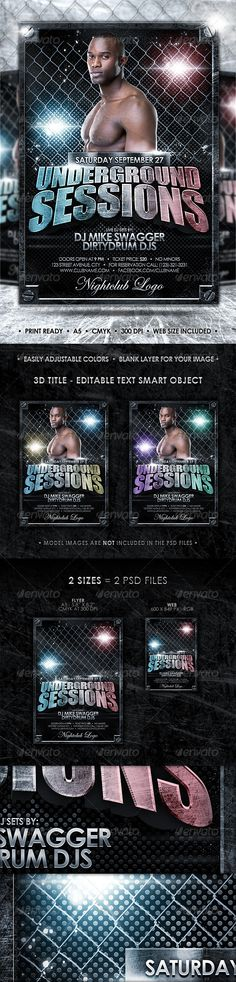 A dirty, grunge, underground flyer template that features spotlights, sprayleaks, paint splashes, steel frame and nails on corners, carbon fibrebackground, metallic chain link fence, a scratched, outstanding title that is easy to change, a blank place for your image(model images which are shown in the preview are not included in the PSD filesof thi