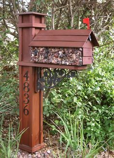 I designed and built the darned mailbox t 8230 Wooden Mailbox, Diy Mailbox, Mailbox Post, Mailbox Ideas, Mailbox Designs, Mailbox Garden, Craftsman Mailboxes, Mailbox Stand, Mailbox Landscaping