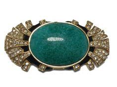 Vtg Ciner Brooch Green Peking Glass Art Deco Style Goldtone Rhinestone Enamel #Ciner #ArtDeco