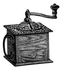 vintage coffee grinder, grinder clipart, black and white clip art, vintage kitchen graphics