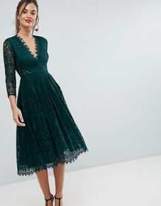 ASOS Long Sleeve Lace Midi Prom Forest Green Dress
