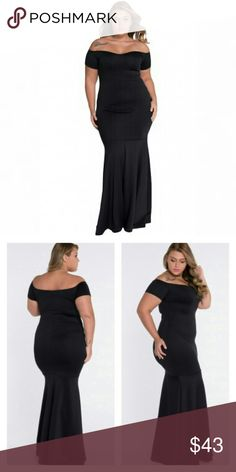 Mermaid Dress Black sexy plus size mermaid dress. Fabric is smooth and stretchy. Figure flattering, off the shoulder neckline. Dresses Maxi