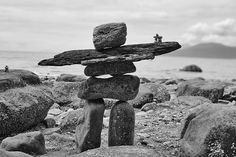 Inukshuk on the beach.
