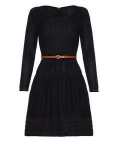 This Black Belted Knit A-Line Dress by Iska London is perfect! #zulilyfinds