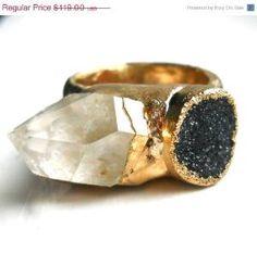 Herkimer diamond and druzy ring by jennleedesign by CarolinaBarbosa